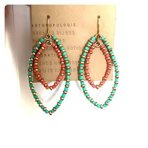 Turquoise, pink, gold beaded earrings